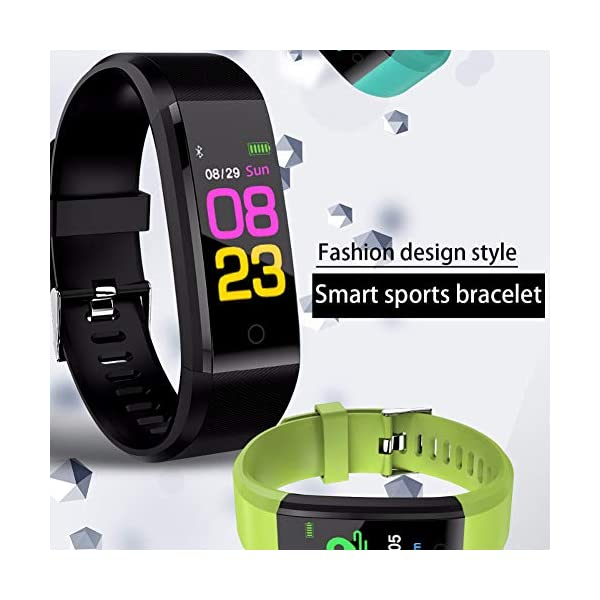Leobtain Fitness Tracker Pantalla a Color Monitor de Ritmo Cardíaco Presión Arterial Pulsera Inteligente Relojes… 3