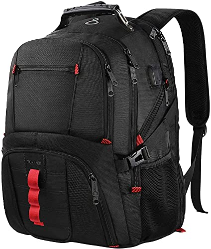 YOREPEK Extra Large Backpack,TSA Friendly Travel Business Backpack, 17 Inch Computer Backpacks for Laptops, Durable High School College Bookbag with USB Charging Port, Gifts for Men Women, Black