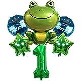 DIWULI, juego de globos de príncipe rana, globo número 1 verde, globo de lámina de sapo, feliz cumpleaños príncipe, 1º cumpleaños infantil, fiesta temática, decoración, globo de lámina