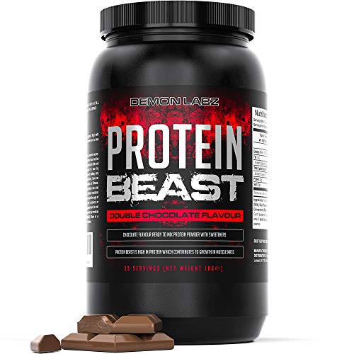 Protein Beast (Double Chocolate Flavour) - 80% Protein Shake - Whey, Milk and Soy Protein Powder - 1kg Tub