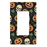 Qilmy Halloween Pumpkin Wall Plate Switch Plate Light Switch Over Size Wall Plate Cover for Living Room, Bedroom, Bathroom, Office and School Decor