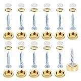 Tornillo Embellecedor Espejo HO2NLE 12pcs Tornillos para Espejo 25mm Clavos con Tapas Decorativas de Acero Inoxidable con Goma para Espejo Baño Armarios Mesas