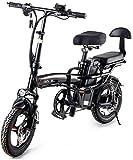 Bicicleta eléctrica de nieve, Bicicleta plegable eléctrica Neumático de gordo Ciudad inteligente Bicicleta de montaña Bicicleta para adultos, bicicleta de aleación de aluminio 400W con 3 modos de equi