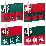 Morobor - 12 Soportes para Cubiertos navideños, Fundas para Cuchillos y Tenedores navideños, Bolsas para vajilla de Fieltro con Forma Cuadrada, vajilla de Fieltro para decoración de Mesa navideña