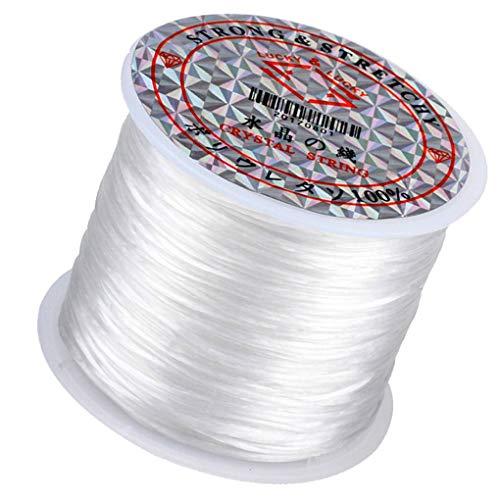 1 Roll / 196Ft Hilo de Perferencia Joyera Que Hace El Cordón de Abajo Elástico Diy Hilo Para Pulsera Pulsera Collar Anklet, Blanco