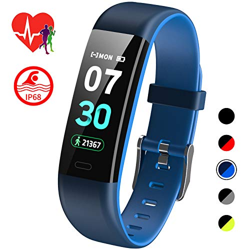 Mgaolo Fitness Tracker HR,Activity Tracker IP68 Waterproof Smart Watch Fit Wristband with Heart Rate Blood Pressure Sleep Monitor Pedometer Calorie Step Counter for Android Fitbit and iPhone (Blue) (Best Spending Tracker App Iphone)