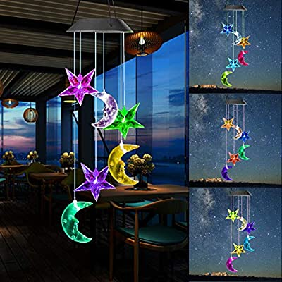 Vinkki Solar Wind Chime Color Changing Solar Light Moon Star LED Wind Chime Wind Mobile Portable Waterproof Outdoor Decorative Romantic Wind Bell Light for Patio Yard Garden Home