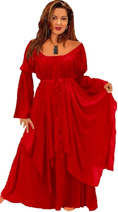 LotusTraders U25700 Peasant Renaissance Maxi Dress Short Sleeve Rayon Crinkle