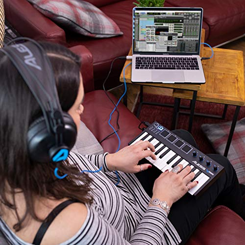 Alesis V-Mini - Teclado Controlador USB MIDI portátil 25 teclas, 4 almohadillas sensibles retroiluminadas, 4 codificadores asignables y un paquete de software profesional con ProTools   First incluido