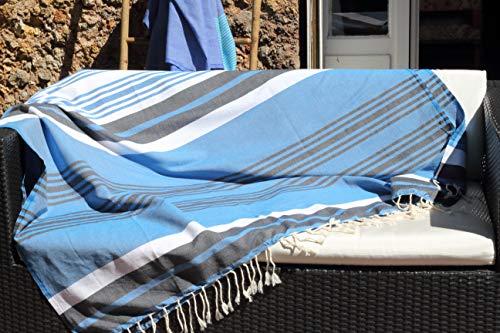Telo mare XXL 145 x 245 cm – Blu Turchese, blu jeans e strisce bianche – Telo mare XXL – 100% morbido cotone