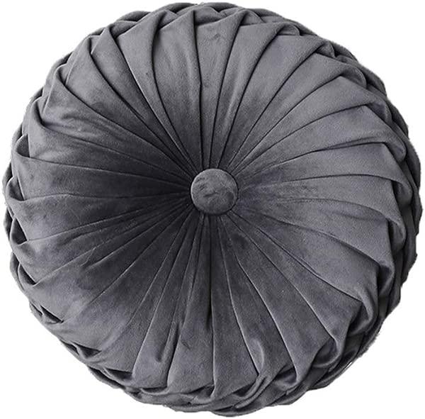 YunNasi 圆形褶皱抱枕填充靠垫椅子装饰抱枕家用沙发床汽车装饰 15 英寸深灰色