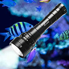 【6000lm DIVING FLASHLIGHT】A reliable diving flashlight is an essential companion for scuba divers. Equipped with 6 CREE XP-L2 LED bulb with a maximum output of 6000 lumen and 50,000 hours LED life span. With solid build and glaring brightness, holdin...