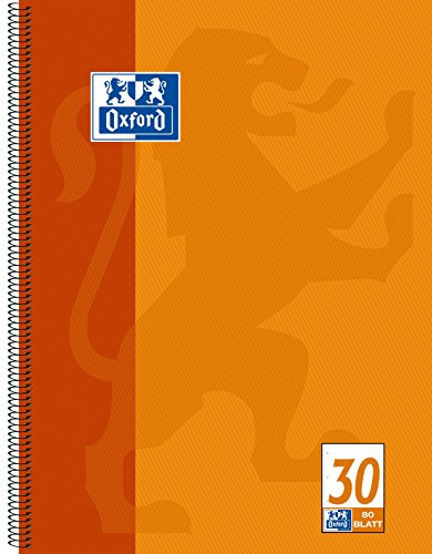 OXFORD 100050359 Collegeblock Schule A4 80 Blatt 90 g/m² seidenglattes Papier gelocht blanko orange Schreibblock Notizblock Briefblock Schulblock