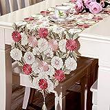 ファッションホーム 三色花 テーブルランナー 花柄刺繍 テーブルランナー 上品 テーブルマット 植物柄 おしゃれ 食卓カバー インテリア 北欧 可愛いタッセル付き 40㎝x210㎝