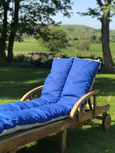 Lancashire Textiles Supreme Quality Sun Lounger Recliner Patio Garden Furniture Replacement Cushion Topper Pad with Elasticated Straps - Made in UK - Aqua