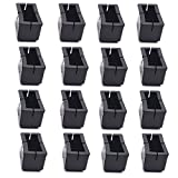 Antrader 16-Pack Silicon Rectangle Chair Leg Floor Protectors with Felt Pads, Sofa Non-Slip Chair Glides Feet Caps Tips, Length 1-9/16' to 1-8/9' (3.9-4.8cm), Width 1' to 1-2/9' (2.4-3.1cm), Blac