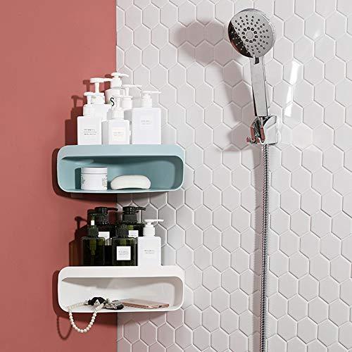 CLEAVE Badezimmer-Rack, Home Bad Wand-Eckablauf Drain Lagerregal, Lochfreien Installation, 2 Packungen (Weiße Und Hellblau)