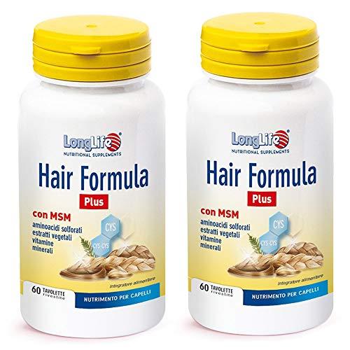 2x Long Life - Hair Formula Plus - 60 tavolette | Pelle e capelli | Pacchetto da 2 confezioni da 60 tavolette