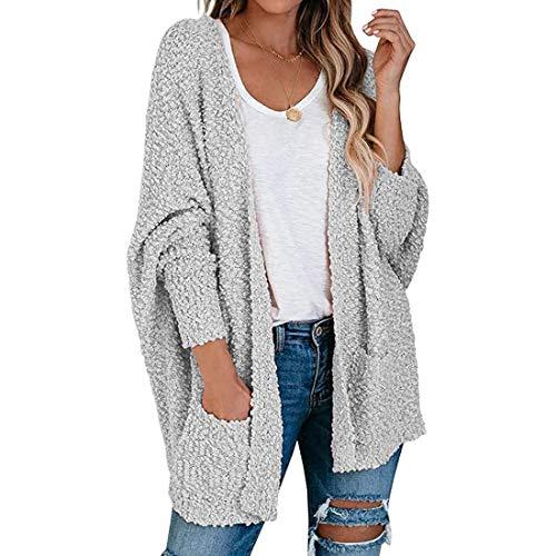 Vertvie Damen Strickjacke Plüschjacke Sweatjacke Cardigans Lange Ärmel Fleecejacke Freizeit Casual Open Front Sweater Strickcardigan Outwear