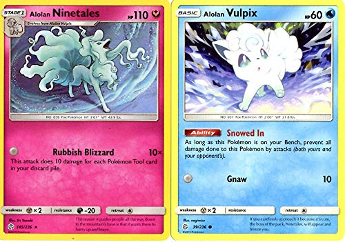 Pokemon Evolution Set - Alolan Ninetales 145/236 - Sun Moon Cosmic Eclipse - Holo Rare - 2 Card Lot