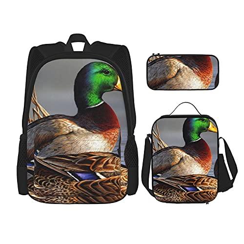Mallard Duck Print Rugzak Voor Jongens Tieners Boekentas Reizen Dagrugzak, Lunch Bag En Potlood Case Combinatie