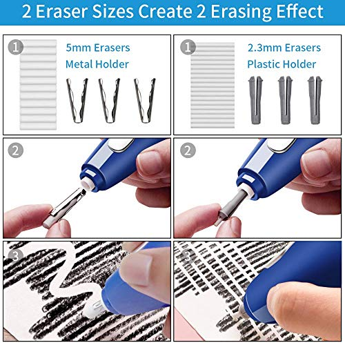 AFMAT Electric Erasers for Artists, 2 Pack, 140 Eraser Refills, Electric Pencil Eraser Rechargeable, Artist Erasers for Drawing, Drafting, Painting, Sketching, Architectural Plans, Detailer Tool-Blue Photo #5