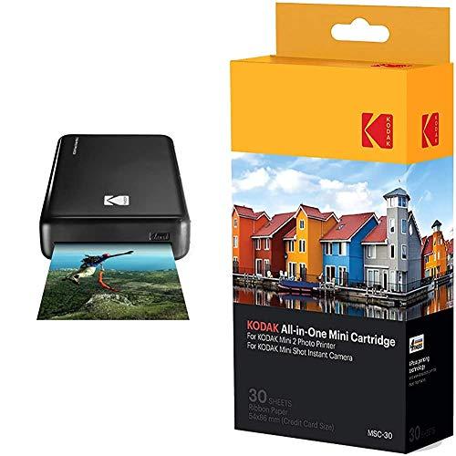 Kodak - Impresora fotográfica Mini 2HD, instantánea, inalámbrica y portátil + –Cartucho MC impresión fotográfica Mini, Todo en uno, Tinta y Papel, Lote de 30