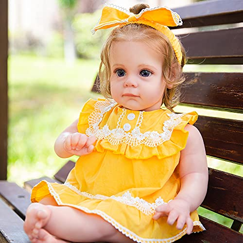 KY REAL BABY KY REAL BABY Reborn Baby Dolls 22 Inch with Soft Body Lifelike Realistic Girl Doll Birthday Gift Set for Girl Ages 3+ (Yellow)
