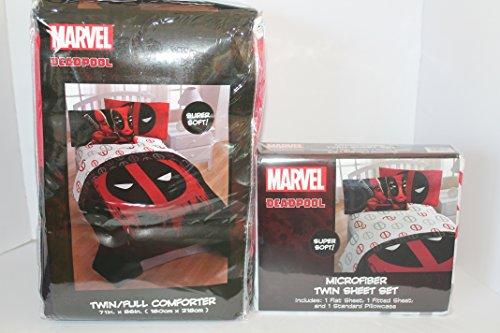 MarvelDeadpool Deadpool Twin/Full Colcha y 2Hojas
