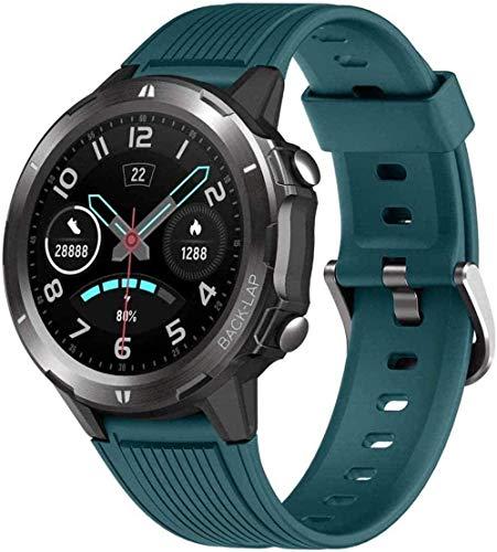 Reloj inteligente de fitness con monitor de ritmo cardíaco de presión arterial, monitor de sueño, pantalla táctil, 12 modos deportivos, resistente al agua, con podómetro, color azul