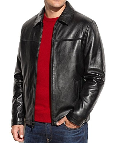 SID Lambskin Leather Men's Lambskin Leather Jacket, Royal Black, Medium