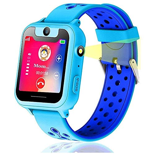 KJRJSB Kids Smart Watch Phone, Smartwatches for Girls Boys 1.44'' Touch Screen Game Smartwatch, Camera, Flashlight for Children Best Gift (Color : Blue)