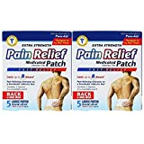 Pure-Aid Extra Strength Pain Relief Patch-5ct (2 Pack) Medicated Patch Menthol 5% Fast Relief Lasts up to 8 hours , Pain Relieving Ointment on a Breathable Adhesive Pad