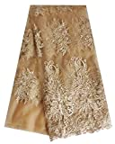 SanVera17 2020 African Lace Fabric Net Lace Fabric Sparkling Nigerian Fabric for Party Dress (Gold) 5 Yards