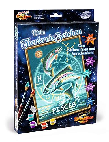 Schipper 609390671 - Malen nach Zahlen - Tierkreiszeichen, Fische - Bilder malen für Erwachsene, inklusive Pinsel und Acrylfarben, 18 x 24 cm
