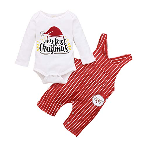 My First Christmas Baby Boy Girl Clothes 2PCs Outfit Set Santa Claus Christmas Overalls Clothing Set (A-White, 0-3 Months)