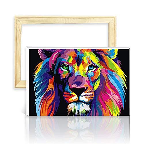 decalmile Pintura por Número de Kits DIY Pintura al óleo para Adultos Niños León Colorido 16X 20 (40 x 50 cm, Marco de Madera)