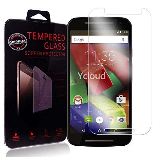 Ycloud Panzerglas Folie Schutzfolie Bildschirmschutzfolie für Motorola Moto G 2.Generation screen protector mit Festigkeitgrad 9H, 0,26mm Ultra-Dünn, Abger&ete Kanten