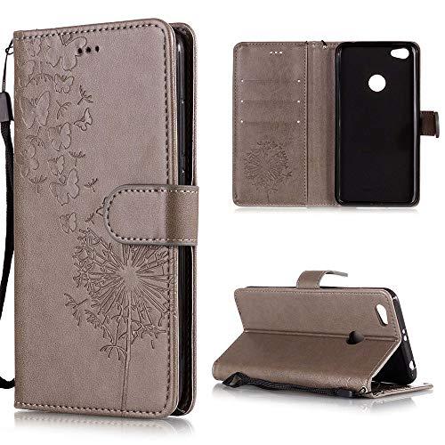 XCYYOO Handyhülle Kompatibel mit Xiaomi Redmi Note 5A Tasche Leder Flip Hülle PU Leder Hülle[Spitzen Blumenmuster] Brieftasche Etui Schutzhülle mit Stand Halter Falten für Xiaomi Redmi Note 5A(Grau)