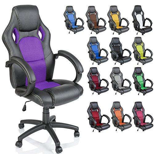 TRESKO Silla giratoria de oficina Sillón de escritorio Racing disponible en 14 colores, bicolor, silla Gaming ergonómica, cilindro neumático certificado por SGS (Negro/Púrpura)