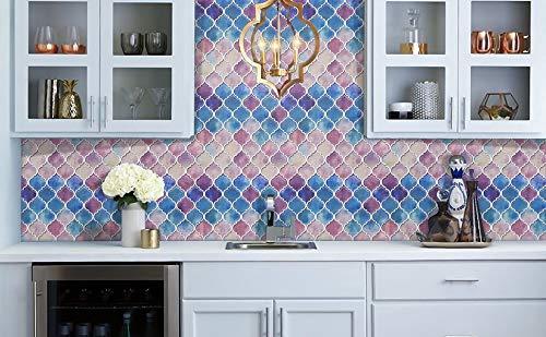 PMSMT 10 Piezas de Papel Tapiz de Secado rápido Stick n Peel Tendencias del hogar azulejo Adhesivo de Pared 250 * 250 mm