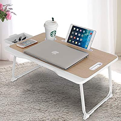 Astory Laptop Desk with Drawer, Portable Laptop Bed Tray Table Notebook Stand Reading Holder Built in Convenient Handle & Foldable Legs & Cup Slot for Bed/Sofa/Couch/Floor (Beige)