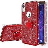 Yobby Kompatibel mit iPhone XR Hülle,Bling Glitzer Strass Handyhülle mit Ring Halter Magnet Ständer iPhone XR Schutzhülle für Mädchen Frauen-Rot