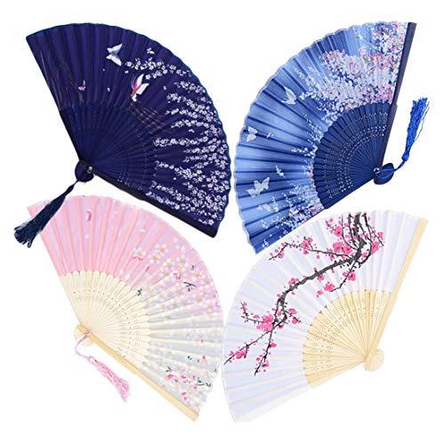 Falten Handfächer,4er Pack Bambus Faltbare Fächer Handfächer mit Quaste Seide Japanische Taschenfächer für Wanddekoration Hochzeit Party Sommer Anlässen