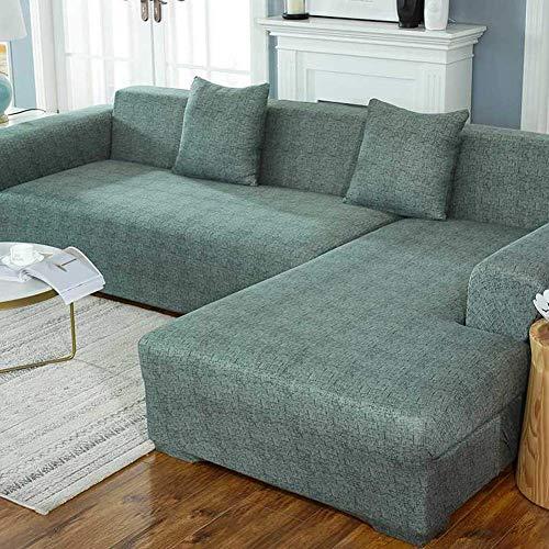 XHNXHN Funda de sofá elástica de 1 Pieza, Funda de poliéster Lavable para sofá de 1, 2, 3 y 4 plazas, Protector de Muebles de sofá Suave Antideslizante para niños, Mascotas (sin Almohada), Color ve