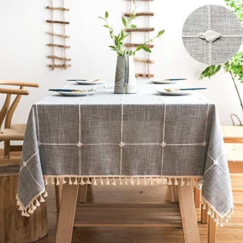 SUNBEAUTY Tischdecke Quadratisch 140x140 Baumwolle Leinen Tischtuch Abwaschbar Grau Tischwäsche Rechteckig Tisch Decke mit Elegante Tischdecke Quaste für Home Küche Speisetisch Dekoration