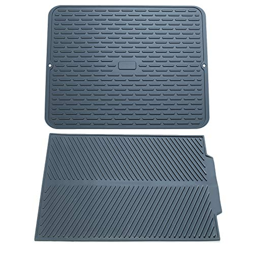 """To encounter Silicone Dish Drying Mats -17"""" x 13""""- Set of 2 Silicone Dish Draining Pad - Large Kitchen Sink Mat - Heat Resistant Silicone Trivet - Silicone Countertop Mat - Dark Gray"""