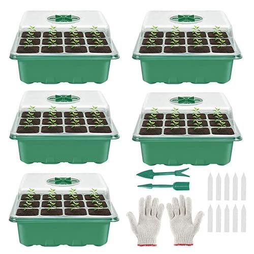 5 Stück Zimmergewächshaus Anzucht, Mini Gewächshaus Anzucht Set, Anzuchtschale mit Deckel, Kunststoff Anzuchtschalen mit Gartengeräte Klein, 12 Löchern, Ideal für Pflanzenwachstum und Saatgutkeimung