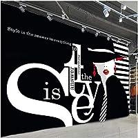 Lcymt 現代のファッション壁紙3D英語の手紙の落書きの写真の壁の壁画の衣料品店黒の背景の壁の装飾-200X140Cm