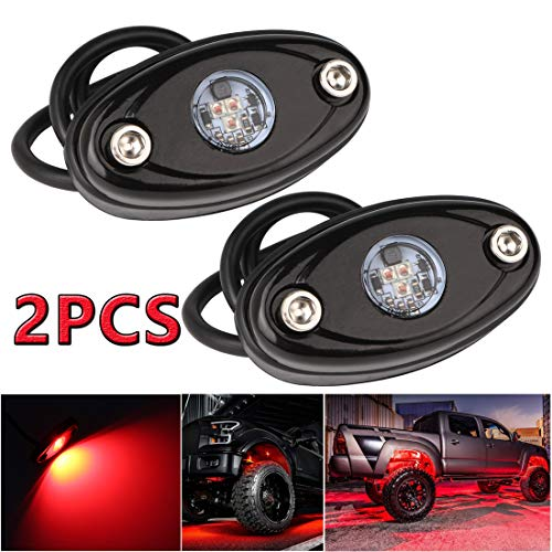 LEDMIRCY LED Rock Lights Red Kit for Off Road Truck ATV SUV Car Auto Boat High Power Underbody Glow Neon Trail Rig Lights Underglow Lights Waterproof Shockproof(Pack of 2,Red)